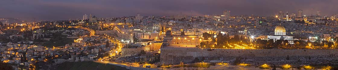 Jerusalem - The Panorama from Mount of Olives to old city at dusk