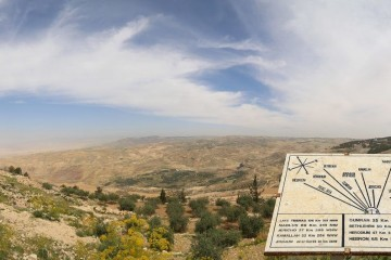 desert-mountain-landscape-aerial-view-from-mount-nebo-and-plaque-showing-the-distance-from-mount-nebo-to-various-locations