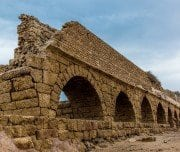roman-aqueduct-on-the-beach-of-caesarea-Mazada Tours